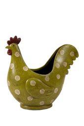 Polka-Dot Rooster Planter   – Keramik Hühner