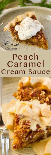 Servieren Sie diese flauschige, wogende Pfirsich-Karamell-Schlagsahne (oder …
