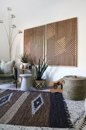 Wood Art, Wood Wall Art, Geometric Wood Art, Geometric Wall Art, Mod …