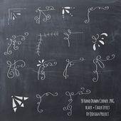 30 handgezeichnete Ecke Clipart Kreide und von qid…