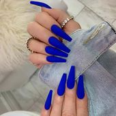 Matte Blue Coffin Nails – #acrylicNails #almondNails #beachNails #birthdayNails …