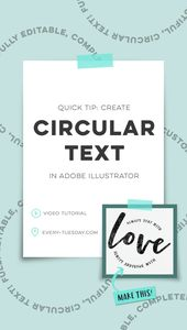 Illustrator Shortcuts  Quick Tip: Create Circular Text in Adobe Illustrator | video tutorial: every-tue...