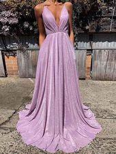 Rückenfreie Ballkleider Spaghettiträger Aline glitzernden lila Abendkleid Mode…