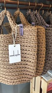 Totally handmade, crocheted shopping bag with short or long knitted handles. Wide range of colors available. Inspired by minimalist …