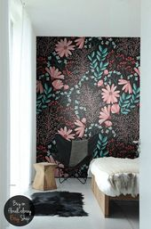 Dark Bohemian wallpaper || Vintage flowers removable wall mural || Peel and stick || Easy stick wall decoration  #53