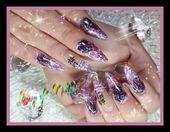 #nageldesign #einfach #nagelkunst #glitter #sommer #flieder –