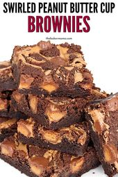 Swirled Peanut Butter Cup Brownies are a fudgy bro…