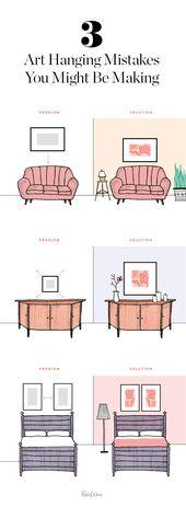 Comment accrocher correctement l'art, les dessus de design