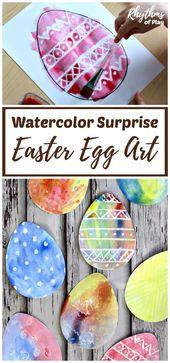 Watercolor Surprise Easter Egg Art for Kids