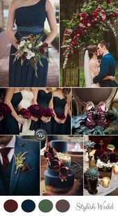 Burgundy is one of our favorite wedding colors. The berry-colored, vine-alive