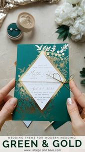 Invitations  Green and gold wedding invitations with #geomertic details #moderwedding #greene...