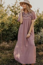Giotto Embroidered Maxi We're in love with this modest embroidered maxi dres...