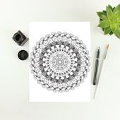 Mandala coloring page for adults, Anti-stress coloring book, Self care, Mandala wall art, Meditation printable, Digital instant download