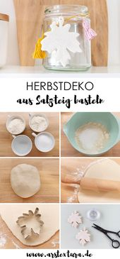 Herbstdeko basteln: Blätter aus Salzteig mit Rezept und Anleitung basteln #salz…