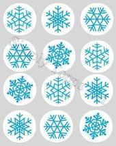 12 Flocon de neige Bleu noël motif noël papier de riz fée / cup cake 40mm top…