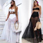 New Hot Summer Fashion dernières femmes jupe taille haute voir à travers d …   – Products