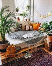 Sharp Beach Boho Family Room with a lunar cycle decoration over the classic white
