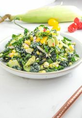 Summer Corn and Kale Salad with Garden Tomatoes and Peppers