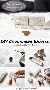 DIY Countdown Würfel aus Beton selbermachen