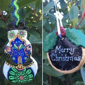 Salt Dough Christmas Divali/Diwali Snowman and Christmas Pudding Blackboard Shaped Ornament Ethnic Black Blue Greed – Unique Handmade