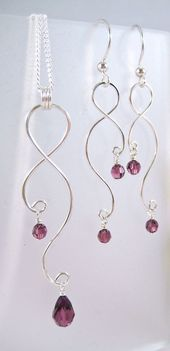 Silver Earrings and Necklace Set of Curved Wire and GemfireWire Jewelry …