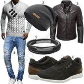 Herren-Outfit mit Strickpullover, Lederjacke und Mütze – Fashion&Style