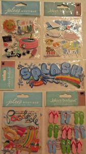 Jolee's Boutique Scrapbooking Stickers Lot SCHWIMMBAD Sun Flip-Flops Floats