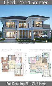 Haus Designs- Haus Formgebung Plan 14×14.5m mit 6 Schlafzimmern – Home Formgebung with Planse…