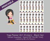 Yoga Planner Girl Sticker, Black Hair, Printable Stickers, Planner Stickers, Happy Planner, Erin Condren, PDF Digital Download