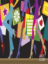 Women Walking Down Sidewalk With Shopping Bags Premium Poster At Art Com Shopping Fun Fashion Art Prints Art Com