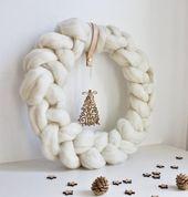 Weihnachtskranz, rustikale Weihnachtsdekoration, skandinavische Weihnachten, nordische Weihnachten rustikale Urlaub Dekor Winterkranz, Bauernhaus Weihnachten