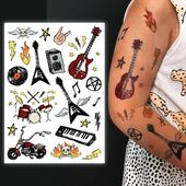 Rock'n'Roll Kinder temporäre Tattoos gesetzt. Rockstar Kostüm Tattoos: Gitarre, Motor… – Tätowierung Blog