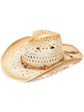 Children's Cowboy Hat with Rolled Brim, Beaded Leather Band, KST-011  – Hat Collection