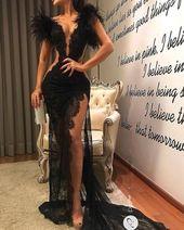 Sexy Slit Black Lace Evening Dress