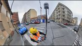 Trimble R12 with GNSS ProPoint engine technology between buildings in Turin city center