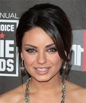 Mila Kunis long straight formal updo dark brunette and dark blonde two-tone