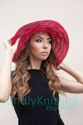 Summer hat for women Bohemian floppy sun hats Big beach brimmed hat Womens red wide brim hat Large brimmed hats – Products