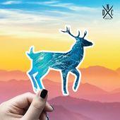 Deer Ocean Vinyl Sticker, Best Friend Gift, Animal Decals, Deer Stickers, Decal, Macbook Decal, Stic