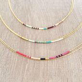 Collier Double Extremely Fin décoré de Perles