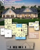 Plan 51816HZ: Modern Farmhouse Plan with 3-Car Front-entry Garage and Bonus Room   – Floor plans