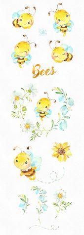 Baby Cards Bienen. Kleine Tiere Aquarell Clipart Kranz Blumen | Etsy