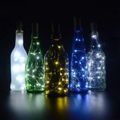 10-Pk of Wine Bottle Lights – 10 warm white Fairy Light LEDs on Copper or Silver Wire – Wine cork – Wine bottle stopper – US shop