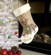 Photo of Personalisierter Weihnachtsstrumpf, monogrammierter Strumpf, skandinavisches Weihnachtsdekor, rustikaler Feiertag,