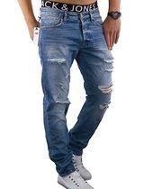 JACK & JONES Herren Jeans jjiMIKE Stonewashed Destroyed Used Look Hose Comfort F…