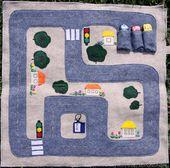 Street Playmat – Plüschtier aus Filz – Zusammenklappbare Autospur – Stundenplanspiel – Geschlechtsneutral – Faltbare Babydecke – Garage und Autos
