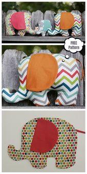 DIY Fabric Elephant Plushies Spielzeug Kostenlose Schnittmuster und Anleitungen