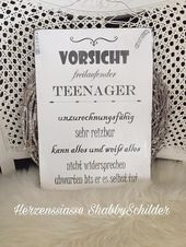 "Shabby wooden sign ""teenager"""