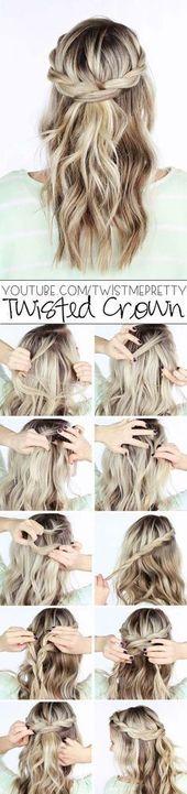 Coole und einfache DIY-Frisuren - Twisted Crown Braid - Schnelle und einfache Ideen ... #braid #coole #crown #simple #dresses