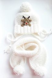 Christmas Outfit, Hat and Scarf, Reindeer Hat, Winter Outfit, Winter Accessories, White Hat, Knit Scarf, Pom Pom Hat, Christmas Gift