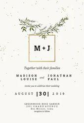 Olivenblätter – Hochzeit Einladungsvorlage (kostenlos   – Wedding Invitations
